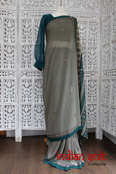 Green & Grey Vintage Sari - New - Indian Suit Company