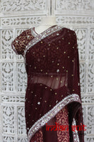 Aubergine Banarsi Silk Brocade Sari + 43 Blouse Preloved - Indian Suit Company