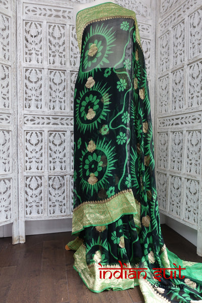 Black And Green Vintage Silk Chiffon Sari - Preloved - Indian Suit Company