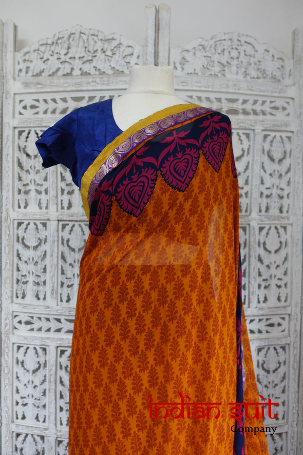 Burnt Orange & Blue Silk Prepleated Sari Saree + 35 Blouse - Preloved - Indian Suit Company