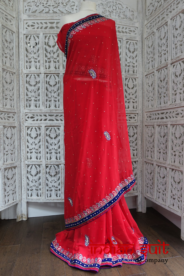 Red Sari With Velvet Trim & Blouse Piece - New - Indian Suit Company