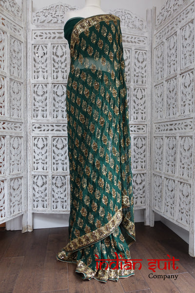Dark Green Sari With Blouse Piece - New - Indian Suit Company