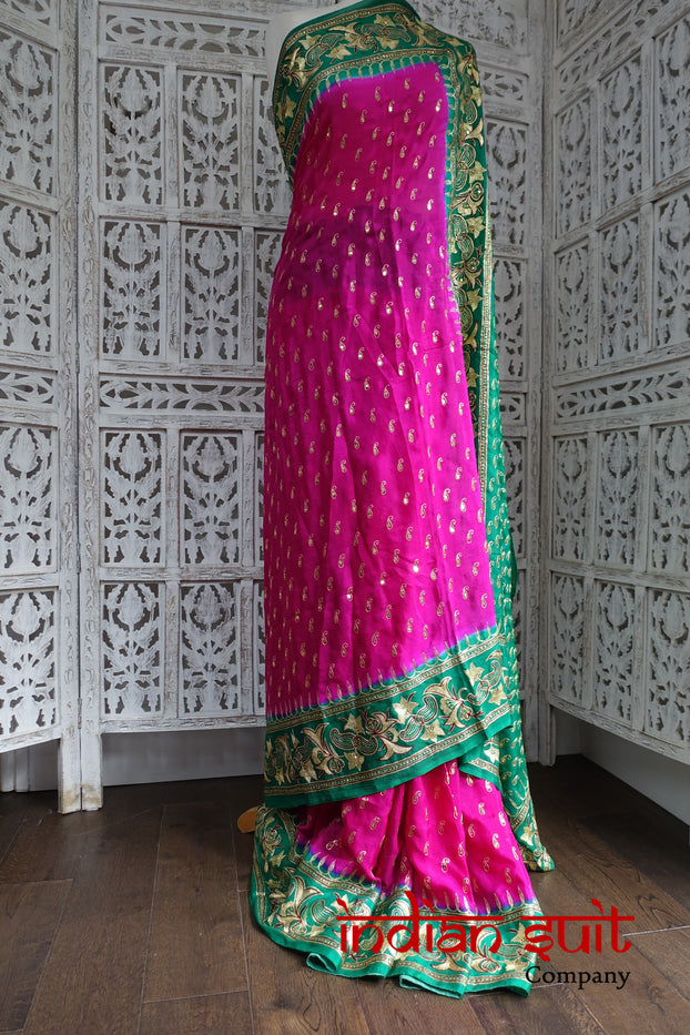 Vintage Pink & Green Silk Sari - Preloved - Indian Suit Company