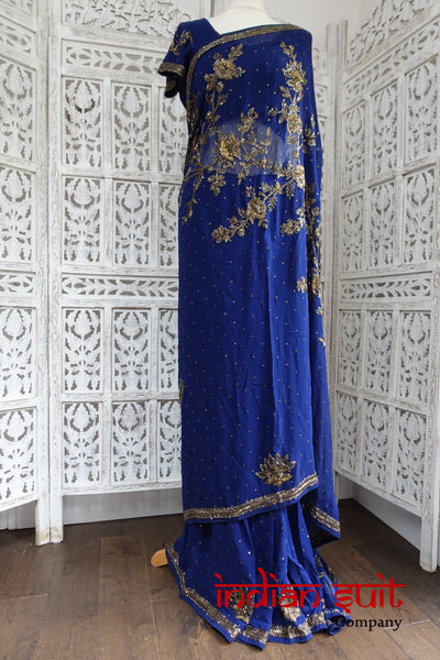 sa16369 dark blue & anthracite beading 2pc sari - Indian Suit Company
