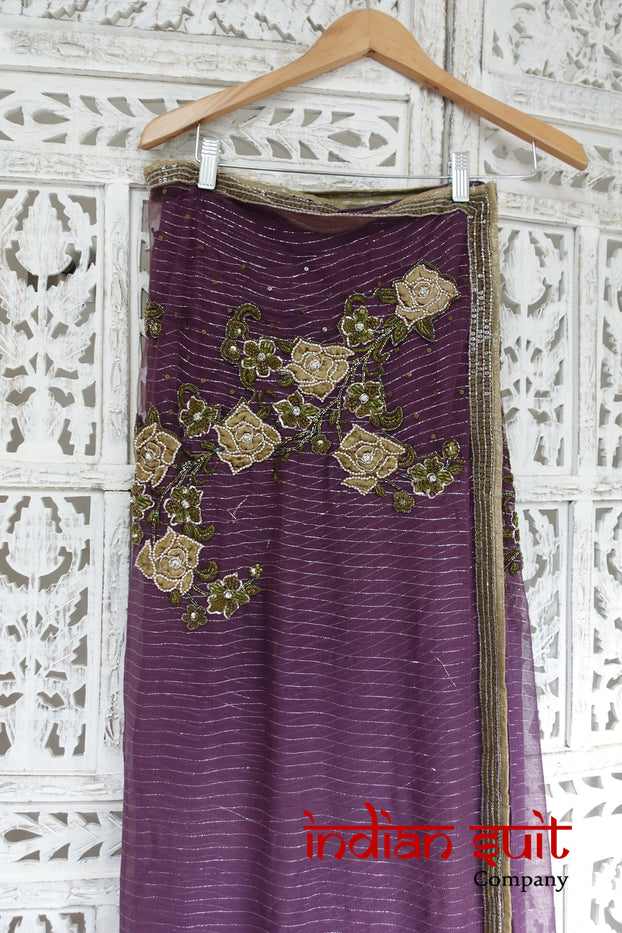 Matt Purple Embellished Sari + 37 Blouse - Preloved - Indian Suit Company