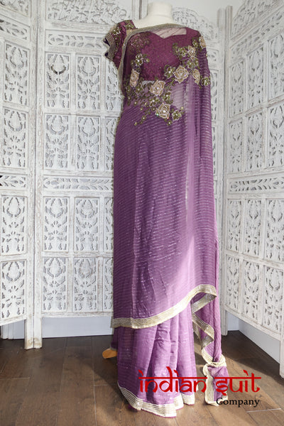 "Matt Purple Embellished  Sari + 37"" blouse  - Preloved - Indian Suit Company"