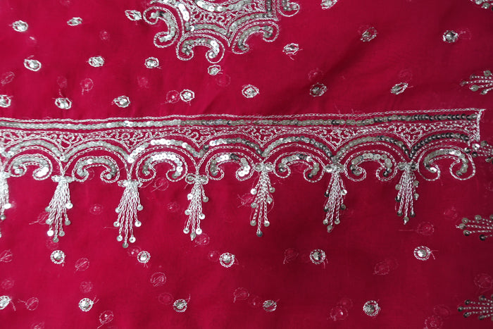 Pink American Georgette Vintage Sari - New - Indian Suit Company