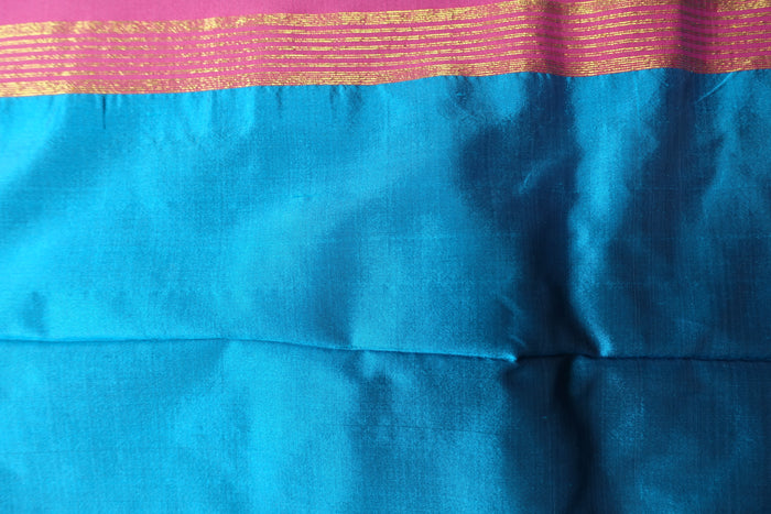 Blue & Pink Silk Blend Vintage Sari - New - Indian Suit Company