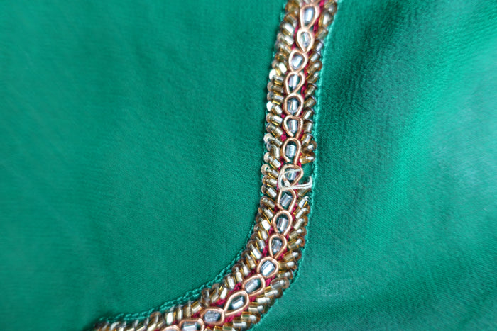 Green Silk Chiffon Sari + 33 Inch Blouse - Preloved - Indian Suit Company