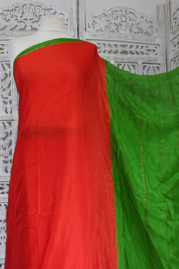Bright Red & Green Silk Vintage Sari - Preloved - Indian Suit Company