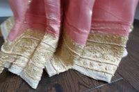 Rose Pink & Cream Organza Voile sari - preloved - Indian Suit Company