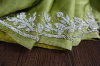 Bright Green Sateen Silk Sari - Preloved - Indian Suit Company