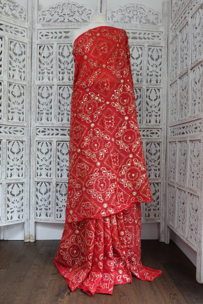 Red Vintage Wedding Sari Bandhani Print - Preloved - Indian Suit Company
