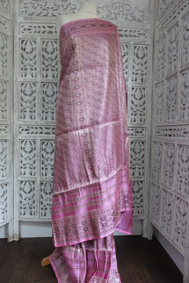 Pink Banarsi Brocade Silk Heavy Sari - New - Indian Suit Company