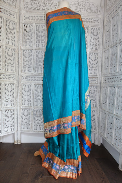 Peacock Blue & Burnt Orange Vintage Silk Sari - Preloved - Indian Suit Company