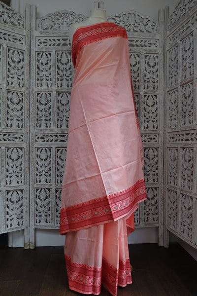 Soft Pink And Coral Pure Silk Vintage Sari - Preloved - Indian Suit Company