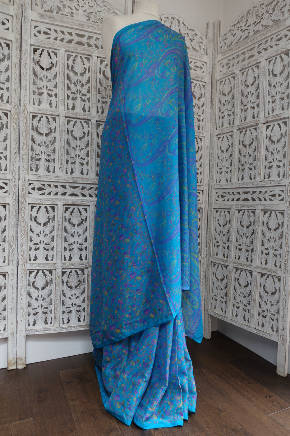 Blue floral printed silk sari - Preloved TBC - Indian Suit Company