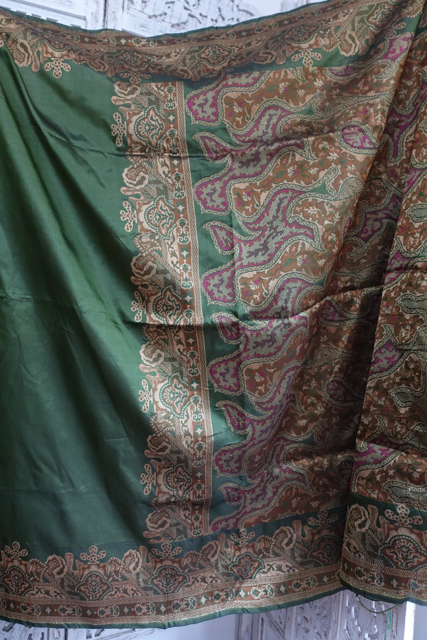 Olive Green Vintage Silk Sari - New - Indian Suit Company