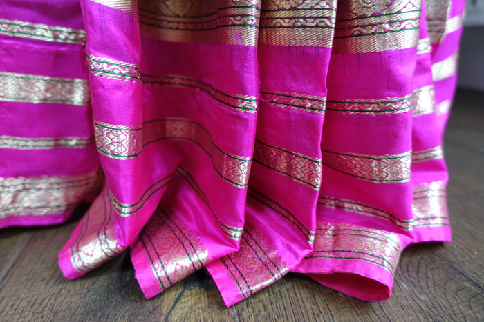 Purple & Pink Pure Silk Sari - Preloved - Indian Suit Company