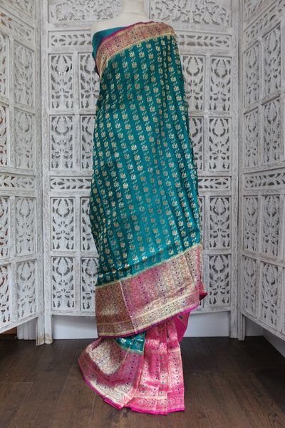 Jade & Pink Silk Blend Sari & Blouse Piece - New - Indian Suit Company