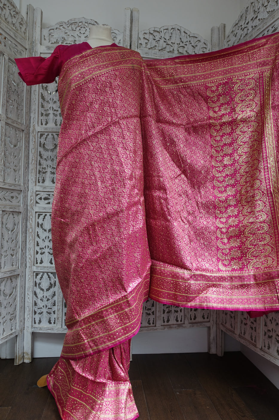"Pink Banarsi Brocade Sari + 33"" Blouse New - Indian Suit Company"