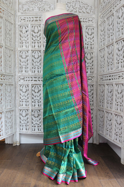 Green & Pink Vintage Silk Sari - New - Indian Suit Company