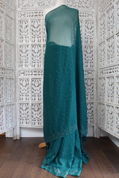 "Dark Green Mukesh Vintage Sari & 32"" Blouse - Preloved - Indian Suit Company"