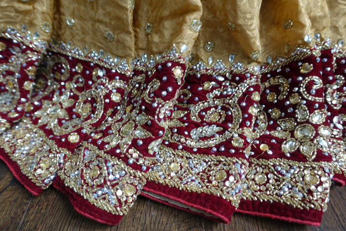 Gold Heavy Velvet Trim Crepe Silk Sari New - Indian Suit Company