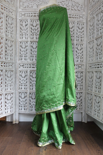Apple Green Vintage Silk Sari New - Indian Suit Company