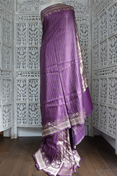 Dusky Purple Banarsi Brocade Vintage Silk - Preloved - Indian Suit Company