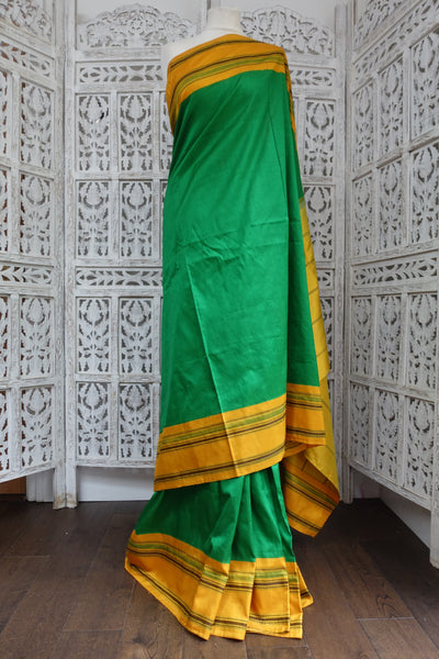 Green & Yellow Vintage Silk Sari - Preloved - Indian Suit Company
