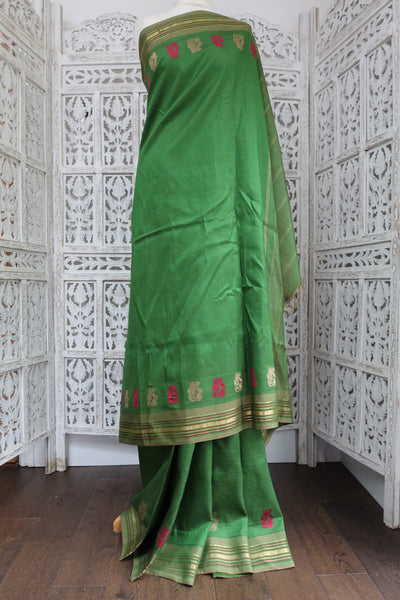 Matt Green Silk Vintage Sari - Preloved - Indian Suit Company