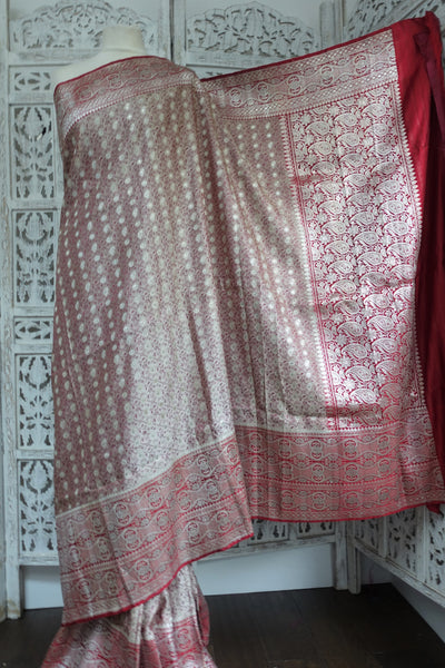 Red & Dusky Pink Banarsi Brocade Vintage Silk Sari New - Indian Suit Company