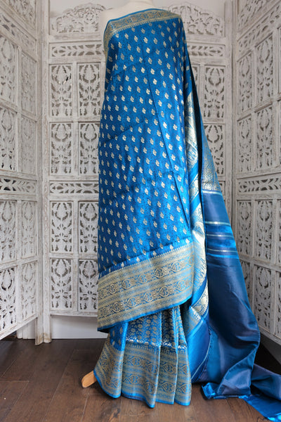 Blue Banarsi Brocade Sari & Blouse Piece - New - Indian Suit Company