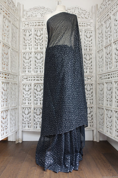 Black Silver Block Chiffon Sari - Preloved - Indian Suit Company