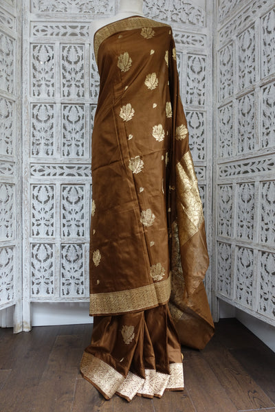 Chocolate Brown Banarsi Vintage Silk Sari New - Indian Suit Company