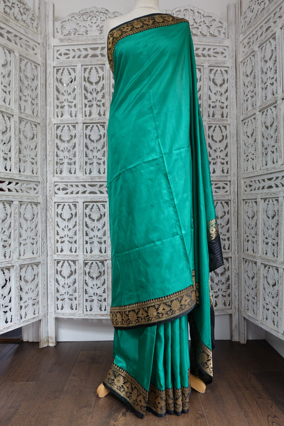 Jade Green & Black Vintage Silk Sari - Preloved TBC - Indian Suit Company