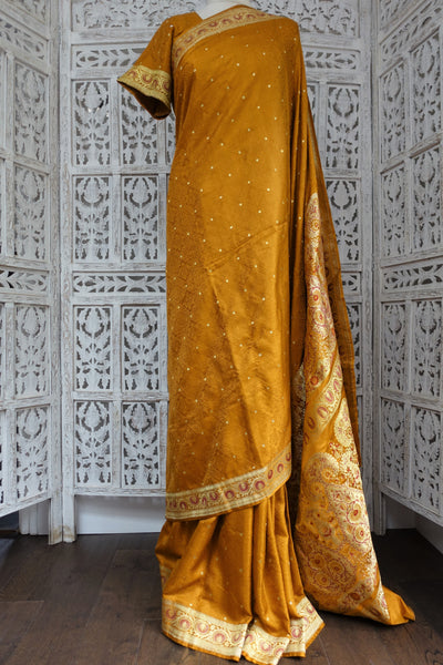 "Ochre Banarsi Brocade Vintage Silk Sari & 40"" Blouse - Preloved - Indian Suit Company"
