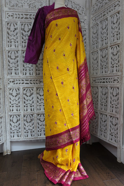 Yellow & Fushcia Pink Vintage Silk Sari - Preloved - Indian Suit Company