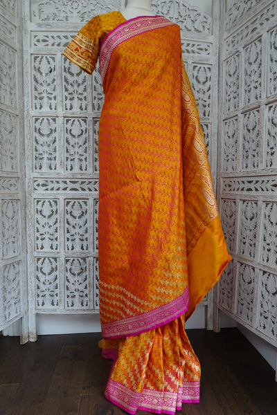 Dark Orange & Pink Pure Silk Sari - Preloved - Indian Suit Company
