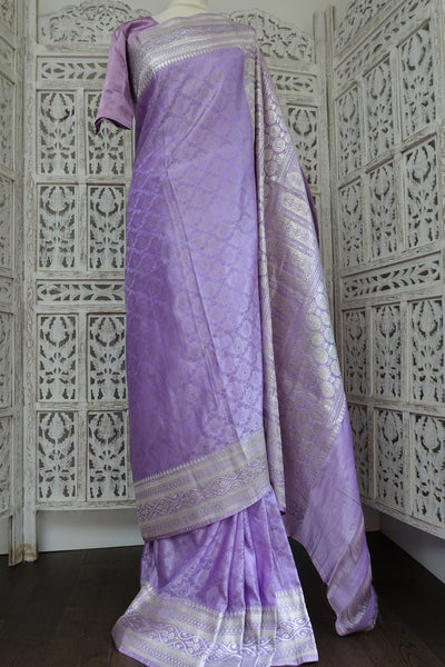 "Lilac Banarsi Brocade Vintage Silk Sari + 40"" Blouse New - Indian Suit Company"