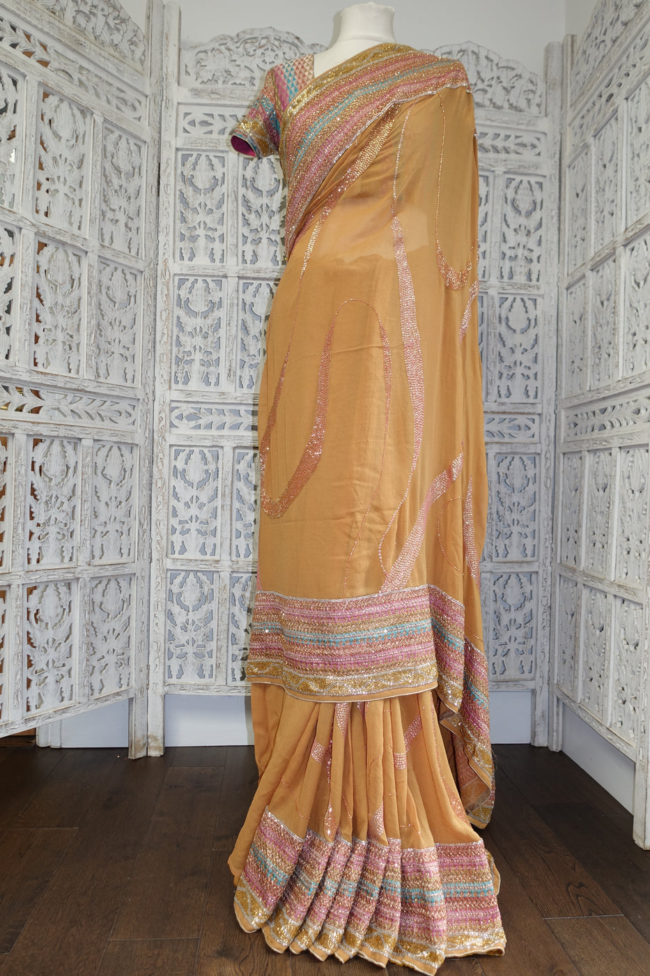 "Caramel Beaded Banarsi Brocade Sari + 36"" Blouse - Preloved - Indian Suit Company"