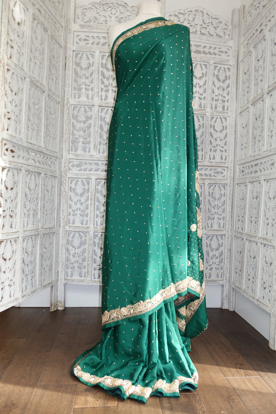 Forest Green Crepe Vintage - Preloved - Indian Suit Company