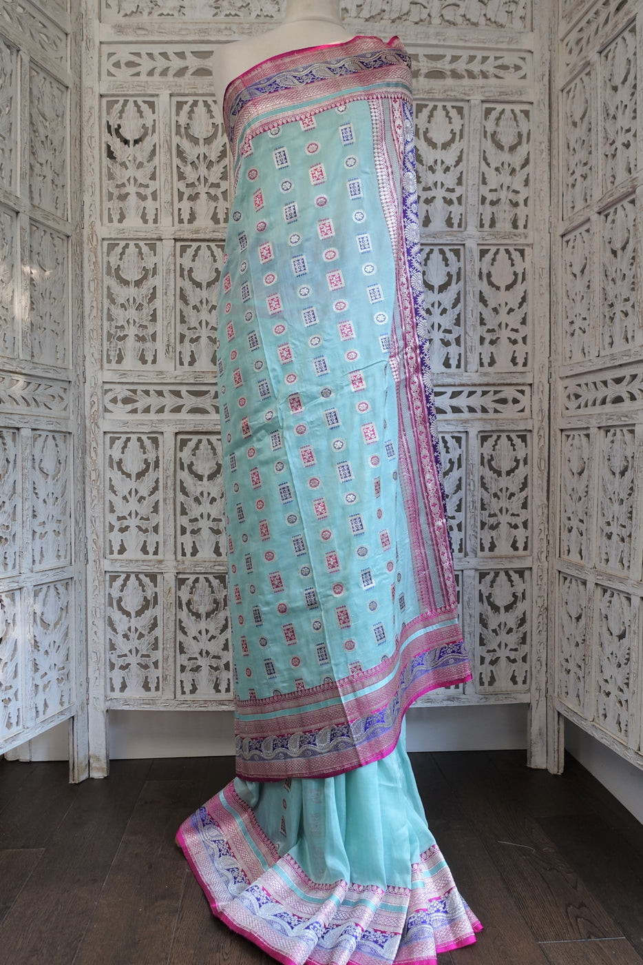 Light Blue Banarsi Brocade Pure Silk Vintage Sari - Preloved