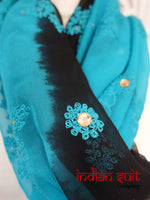 Blue & Black Chiffon Shawl - Preloved