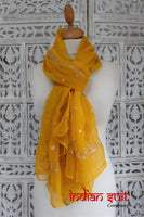 Ochre Vintage Zari Worked Shawl - New - Indian Suit Company