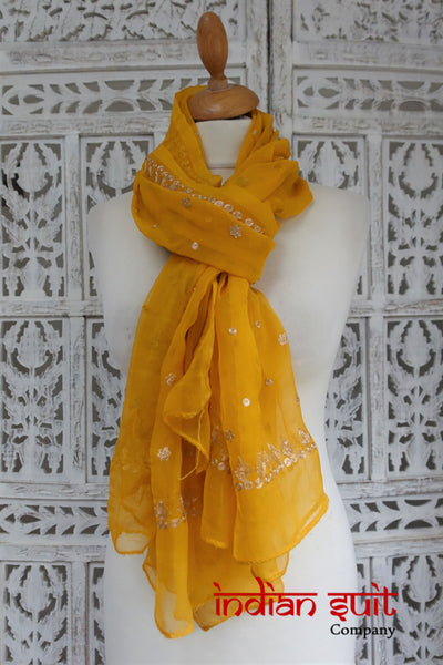 Ochre Vintage Zari Worked Indian Dupatta - Indian Suit Company