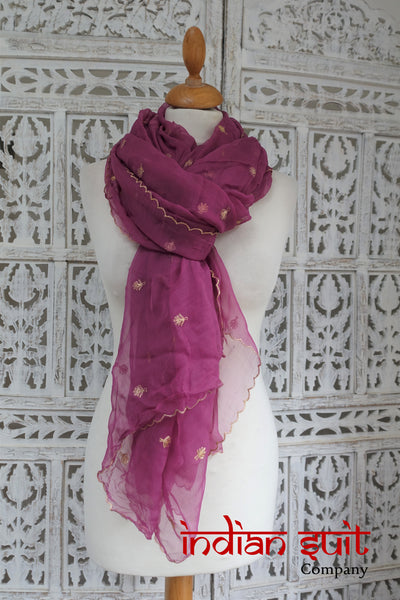 Dark Mauve Vintage Chiffon Shawl - New - Indian Suit Company