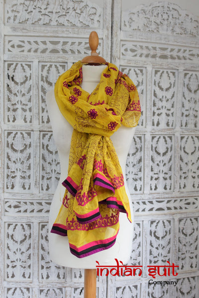 Yellow & Pink Embroidered Indian Shawl - Preloved - Indian Suit Company