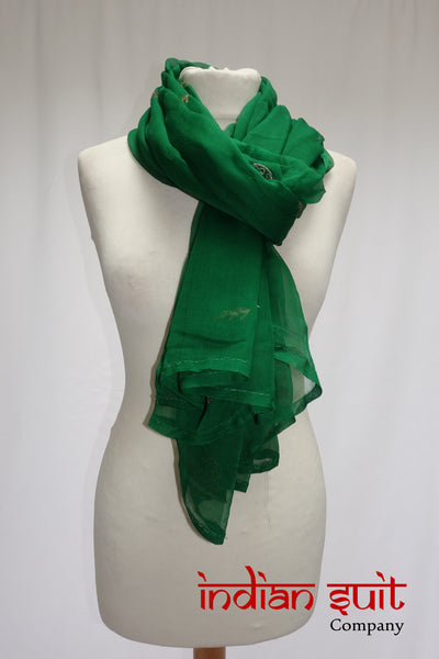 Green Pure Silk Vintage Chiffon Shawl - Preloved - Indian Suit Company